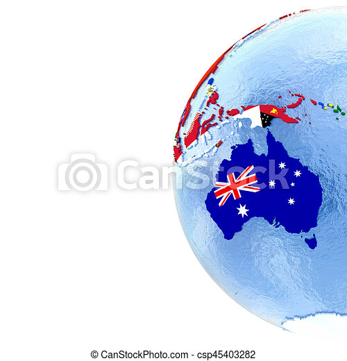 Australia Map Globe.Australia On Political Globe With Flags