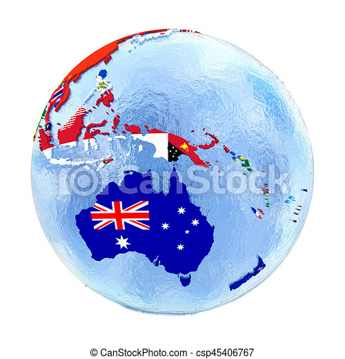 Australia Map Globe.Australia On Political Globe With Flags Isolated On White