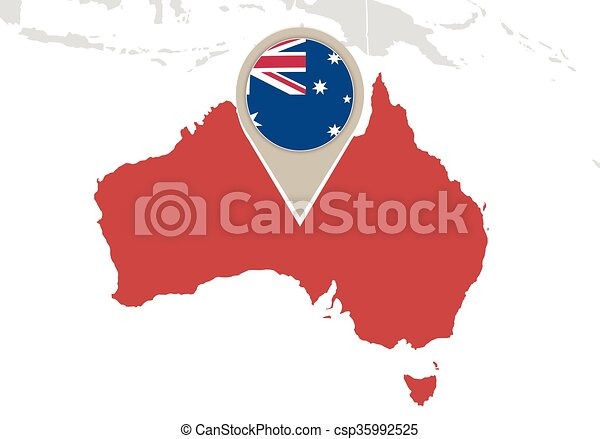 Australia on world map map with highlighted australia map and flag australia on world map csp35992525 gumiabroncs Images