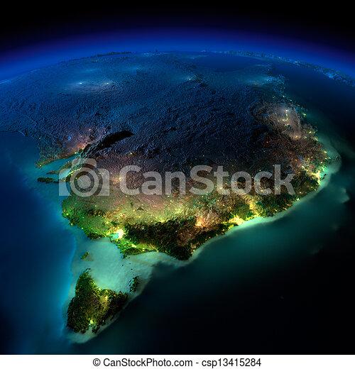 australia., parte, earth., tasmania, notte - csp13415284