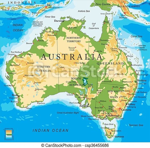 australia-physical, kaart - csp36455686