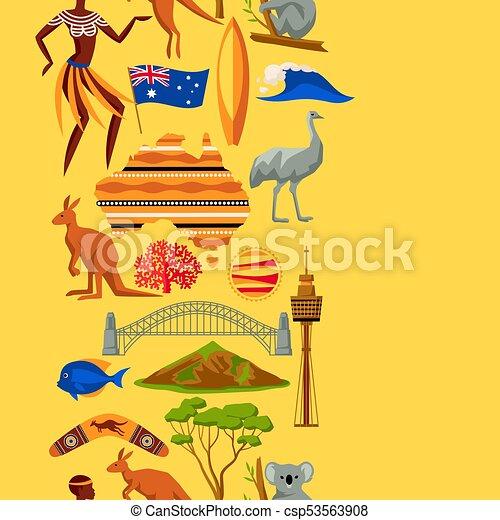 Australia Seamless Pattern Australian Traditional Symbols Vector