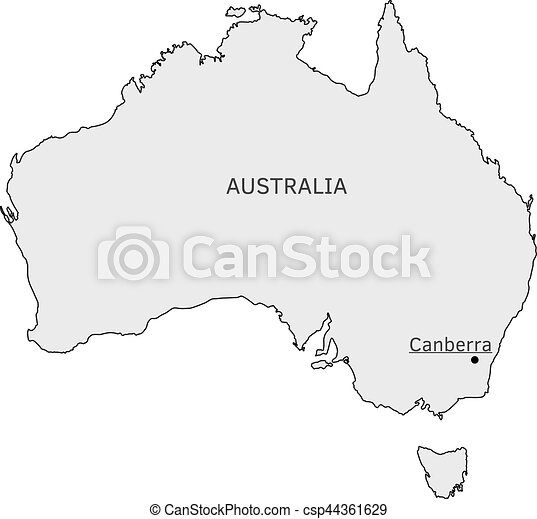 Map Canberra Australia.Australia Silhouette Map With Canberra Capital