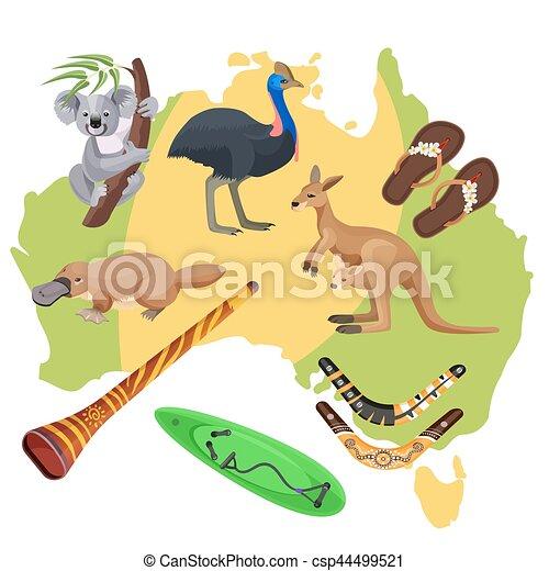 Australia Symbols On Map Koala Kangaroo Surfboard Vector