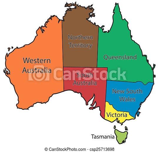 Australia Map Territories.Australia Territories Colour