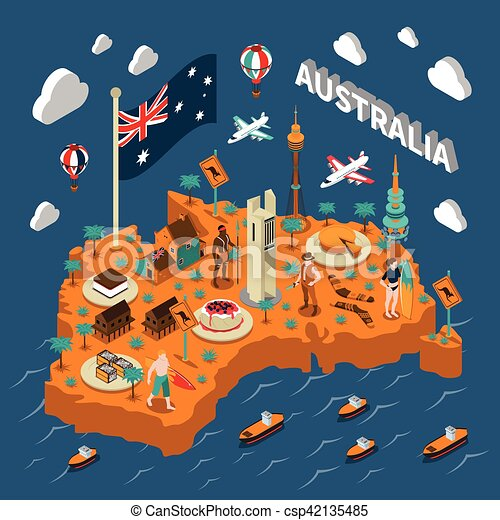 Australia Map Landmarks.Australia Touristic Attractions Isometric Map Poster