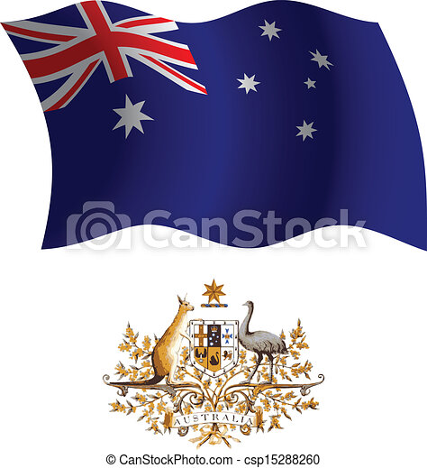australia wavy flag and coat - csp15288260