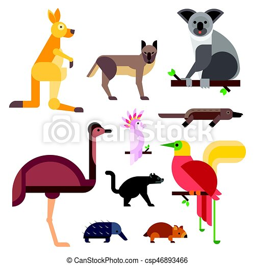 australian cartoon characters australia wild animals cartoon popular nature characters flat style and  australian mammal aussie native forest collection vector illustration.