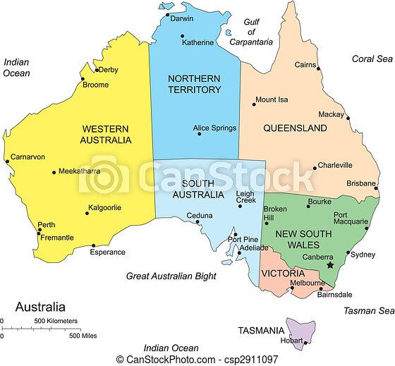 Australia with administrative districts Australia editable