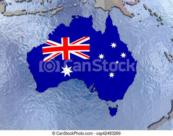australia with flag on globe csp42483269