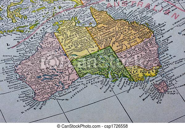 Australia with tasmania on a vintage map vintage map of australia australia with tasmania on a vintage map csp1726558 gumiabroncs Images