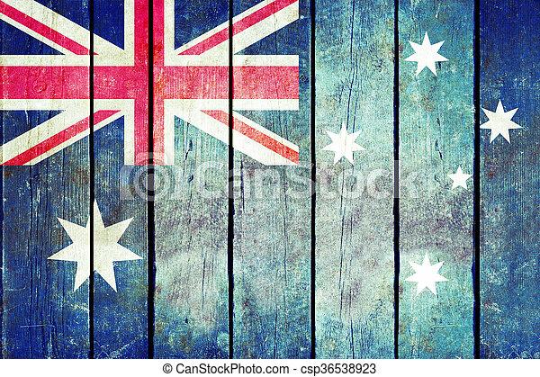 Australia wooden grunge flag. - csp36538923