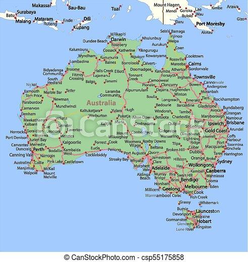 Australia Country Map.Australia World Countries Vectormap A