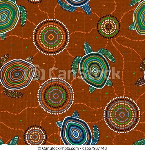 Australian Aboriginal Art Sea Turtles And Jellyfish Seamless