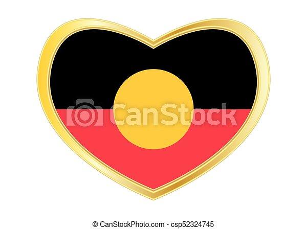 Line Drawing Heart Shape : Australian aboriginal flag in heart shape golden eps vector