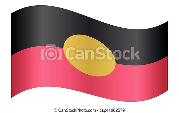 Australian Aboriginal flag waving white background - csp41082579