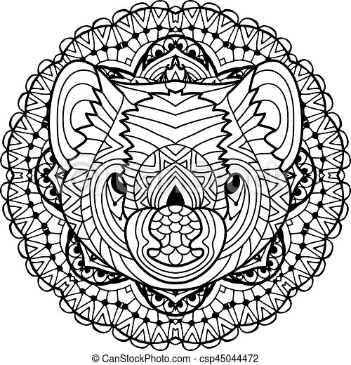 Australian Animal The Head Of A Tasmanian Devil With Patterns