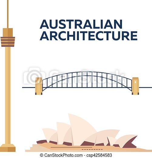 Australian Architecture. Modern flat design. Vector illustration. - csp42584583