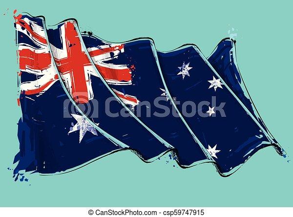 Australian Artistic Brush Stroke Waving Flag - csp59747915