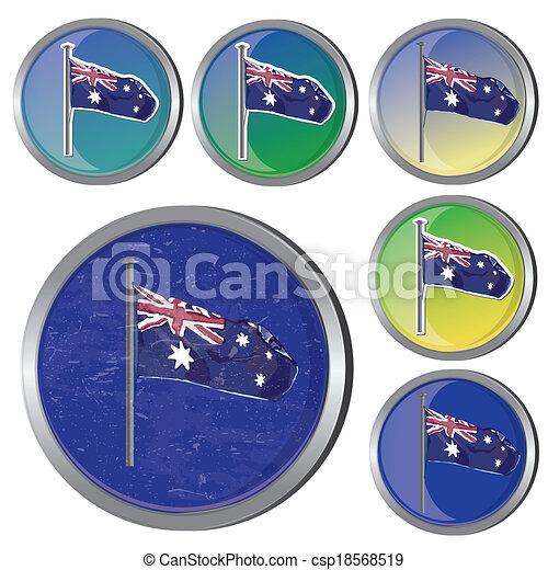Australian flag buttons - csp18568519