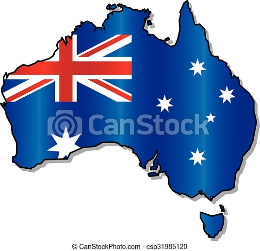 Australian flag map - csp31985120