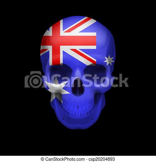 Australian flag skull - csp20204893