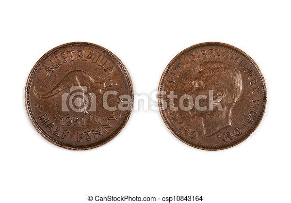 Australian Half Penny Coin Isolated - csp10843164