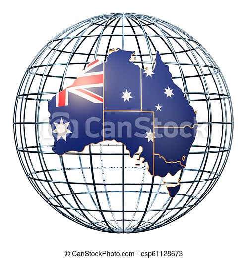 Australian Map On The Earth Globe 3d Rendering Isolated On White