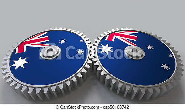 Australian national project. Flags of Australia on moving cogwheels. Conceptual 3D rendering - csp56168742