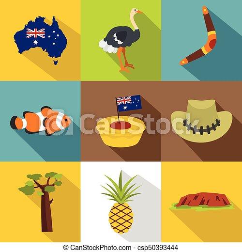 Australian Symbols Icon Set Flat Style Australian Symbols Eps