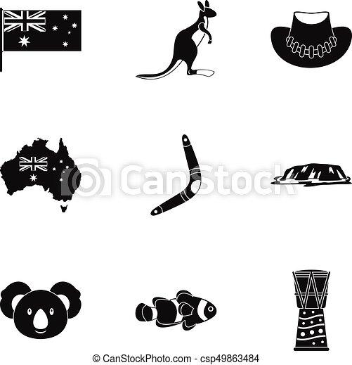 Australian Symbols Icon Set Simple Style Australian Vector