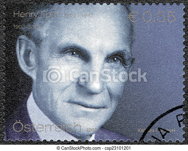 AUSTRIA - 2003: shows portrait of Henry Ford (1863-1947), Ford M - csp23101201