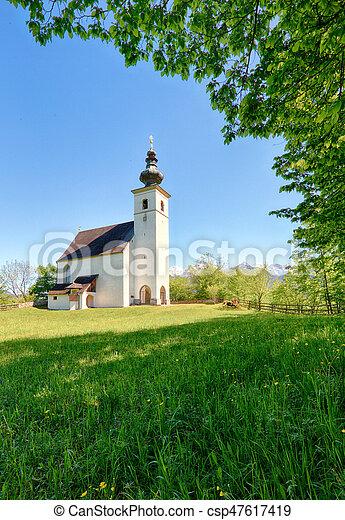 Austria Alps church in village Golling - csp47617419