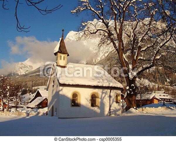 Austria Chapel snow - csp0005355