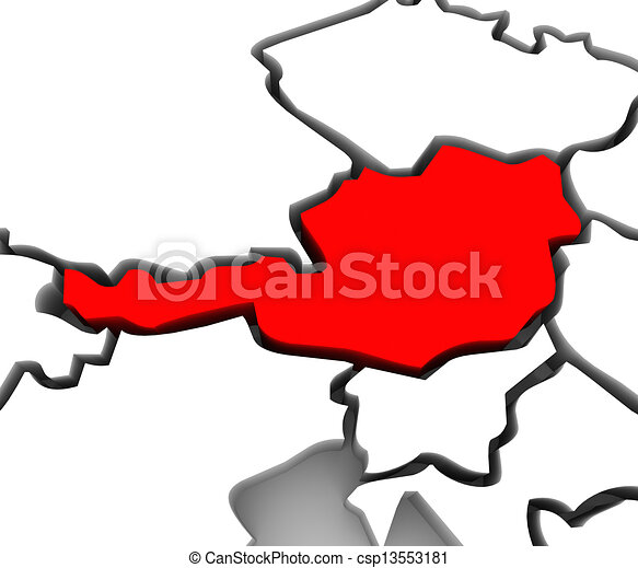 Austria Country 3D Abstract Map Europe Continent - csp13553181