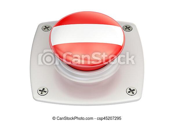 Austria flag push button, 3D rendering - csp45207295