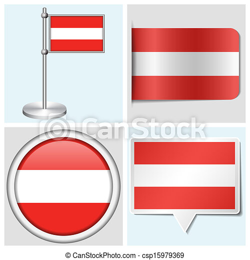 Austria flag set of various sticker button label and flagstaff csp15979369