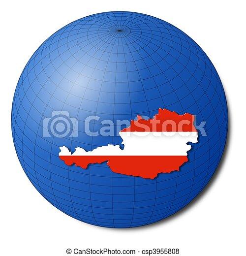 Austria map flag on abstract globe illustration - csp3955808