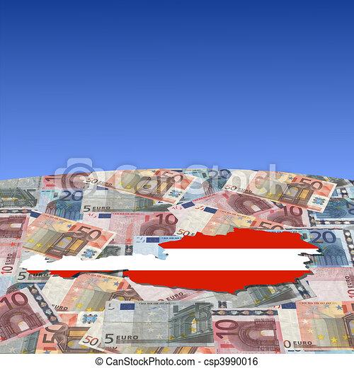 Austria map flag on euros - csp3990016