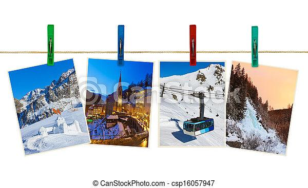 Austria mountains ski photography on clothespins - csp16057947