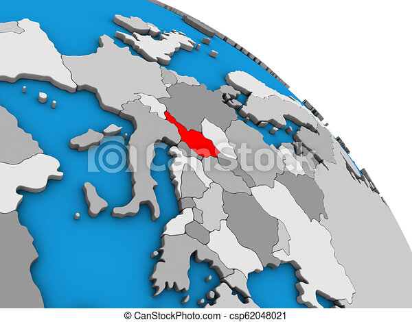 Austria on 3D globe - csp62048021