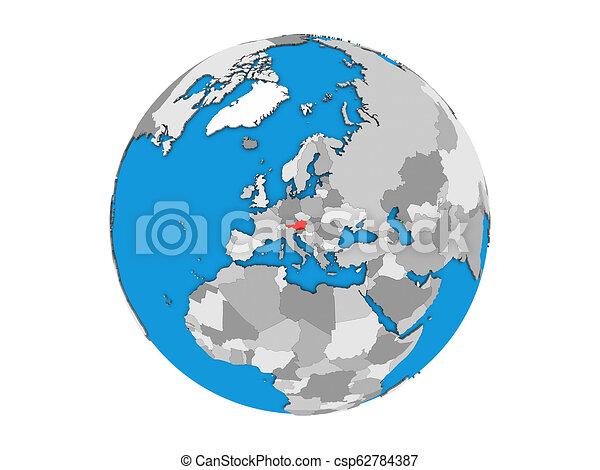 Austria on 3D globe isolated - csp62784387