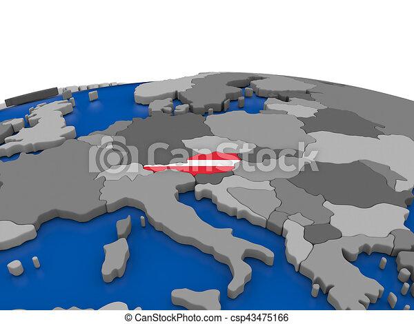 Austria on 3D globe - csp43475166