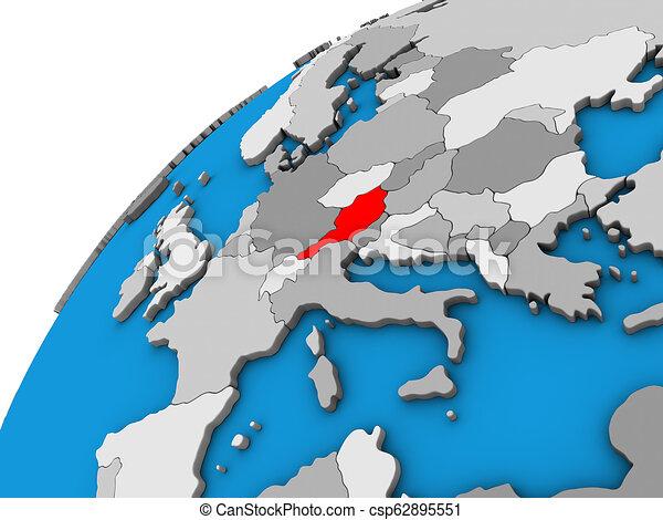 Austria on 3D globe - csp62895551