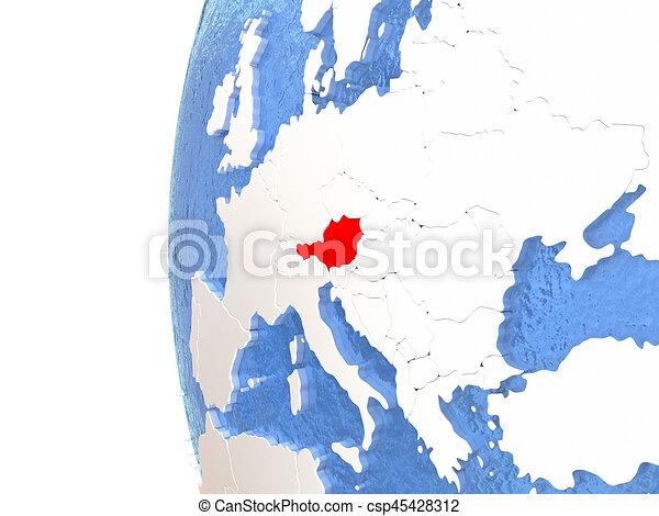 Austria on globe - csp45428312