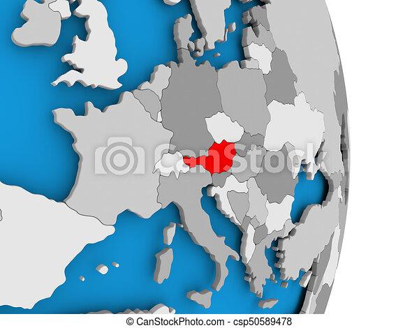 Austria on globe - csp50589478