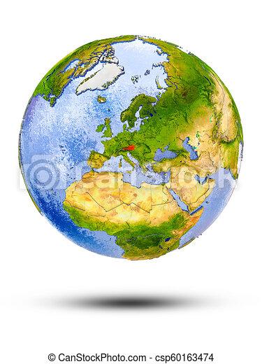 Austria on globe - csp60163474