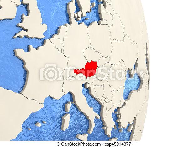 Austria on model of political globe - csp45914377