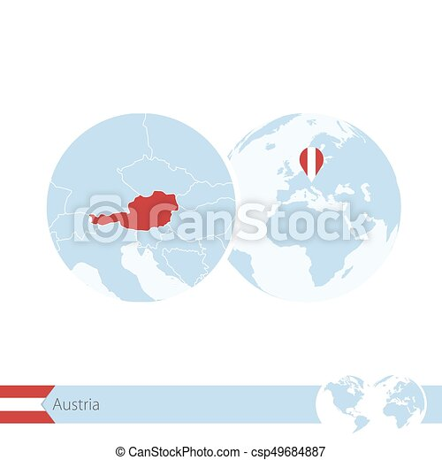 Austria on world globe with flag and regional map of Austria. - csp49684887