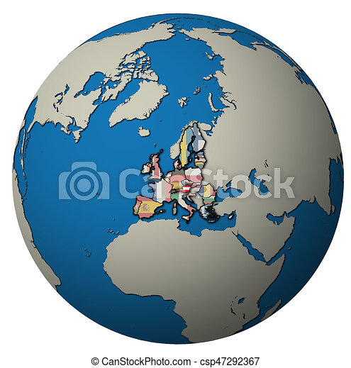 austria territory with flag over globe map - csp47292367